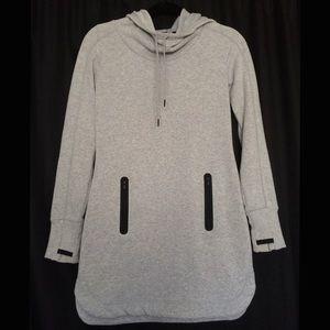 Athleta Grey Fleece Lined Cowl Pullover Hoodie